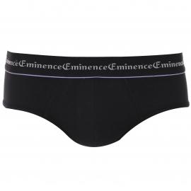 Lot de 3 slips Eminence en coton stretch Noir à bordures colorées
