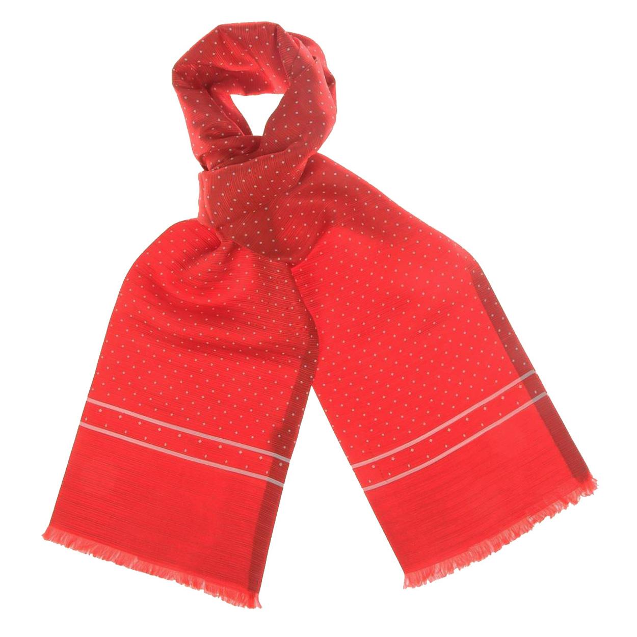 Echarpe en soie rouge à motifs losanges crème