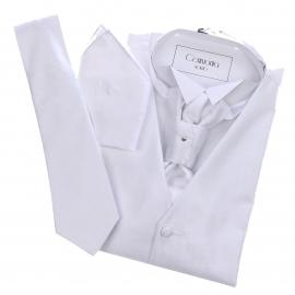 Set de cérémonie: gilet, cravate, cravalière et pochette blanc à motifs zig zag et effet satiné