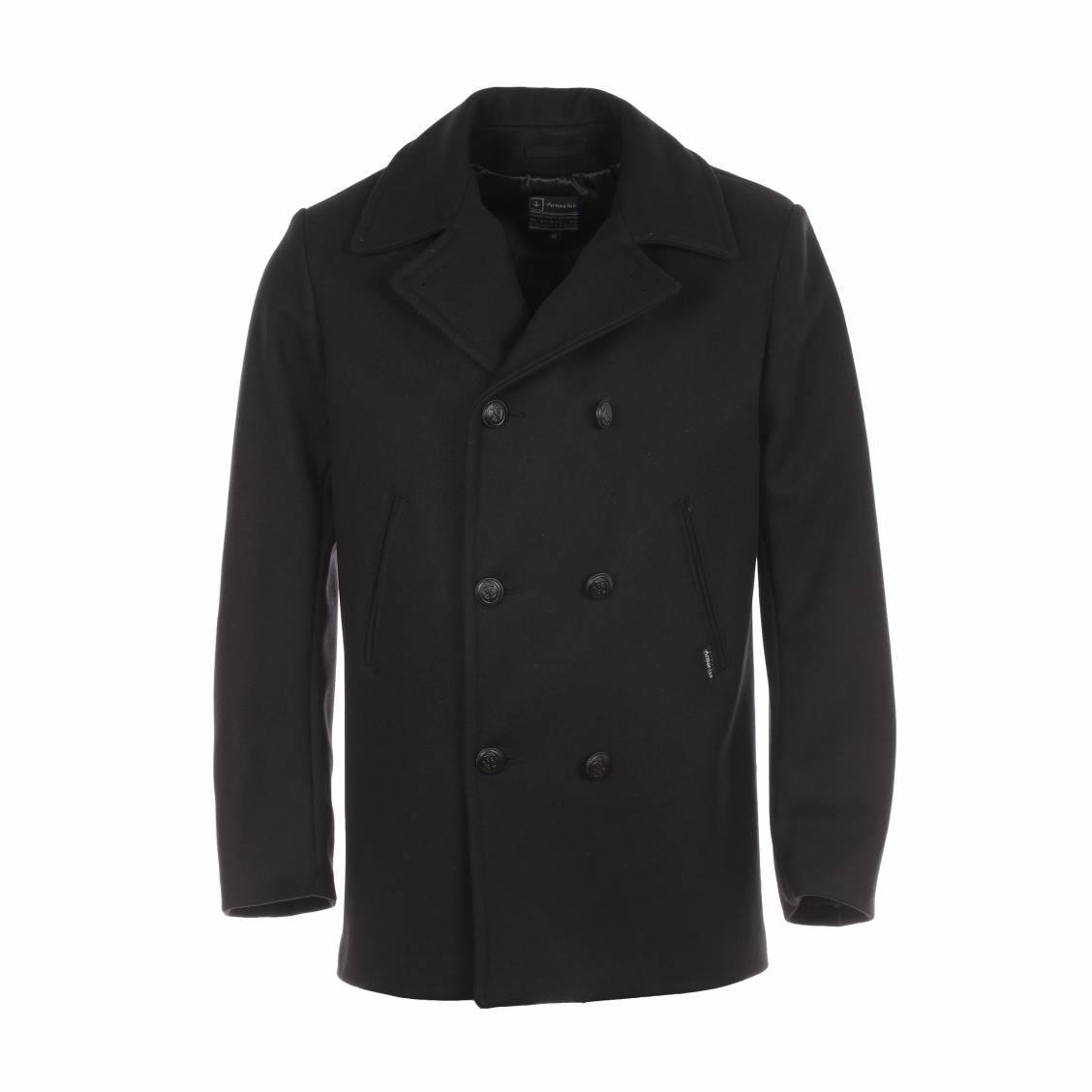 caban cap sizun armor lux 100 laine noire rue des hommes. Black Bedroom Furniture Sets. Home Design Ideas