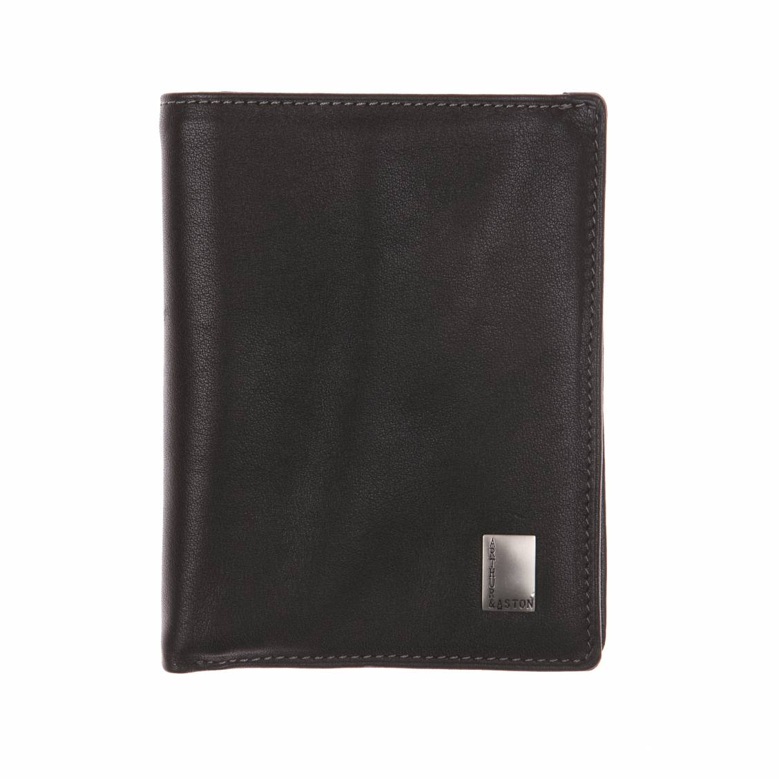 Petit portefeuille 3 volets Arthur & Aston en cuir noir. Cuir de vachette lisse- Doublure polyester Coloris NoirEmpiècement en fer esta