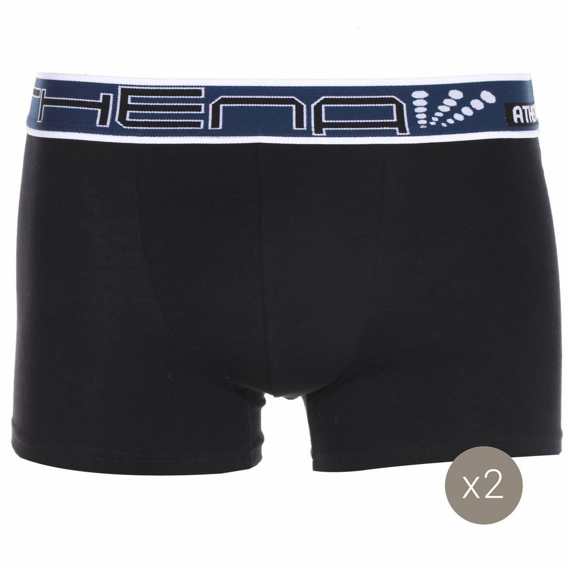 lot de 2 boxers en coton stretch noir et blanc