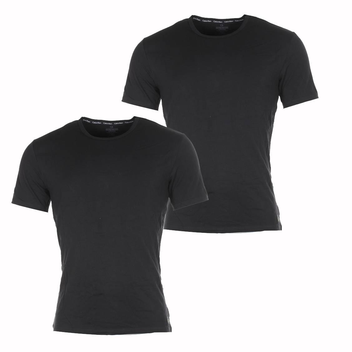 lot de 2 tee shirts noir col rond calvin klein rue des. Black Bedroom Furniture Sets. Home Design Ideas