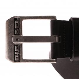 Ceinture Diesel en cuir Noir Boucle carrée estampillée du logo