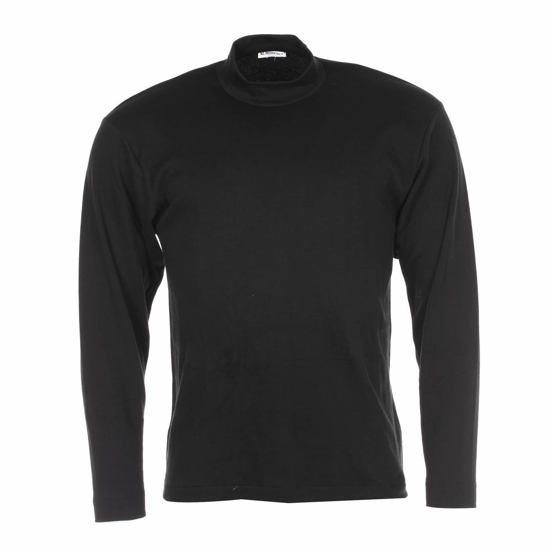 tee-shirt chaud noir à col cheminée