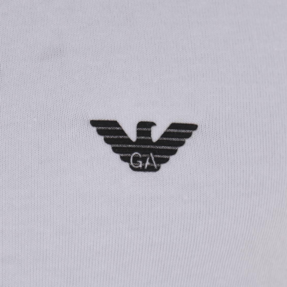 D bardeur col rond blanc emporio armani en coton logo noir rue des hommes for Marque de nourriture italienne