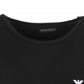 Débardeur col rond Noir Emporio Armani  en coton, logo blanc