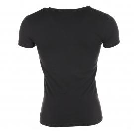 Tee-shirt col rond Noir Emporio Armani  en coton, logo blanc
