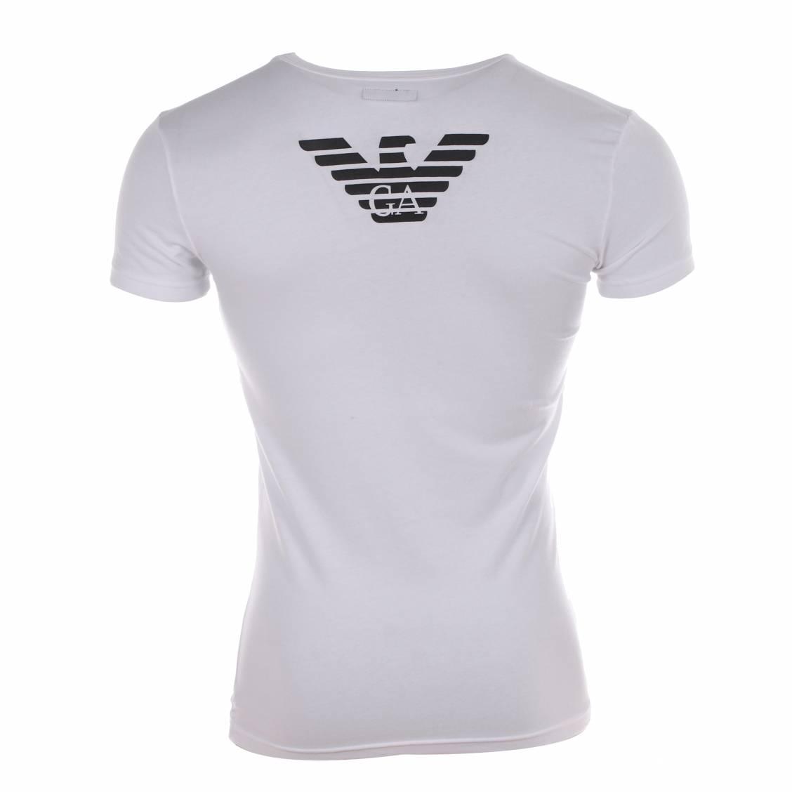 tee-shirt Armani col rond en coton blanc