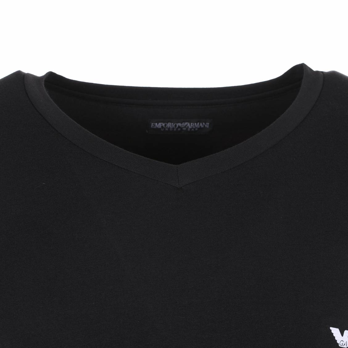 Tee-shirt stretch col v noir armani