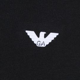 Tee-shirt col V noir Emporio Armani en coton stretch