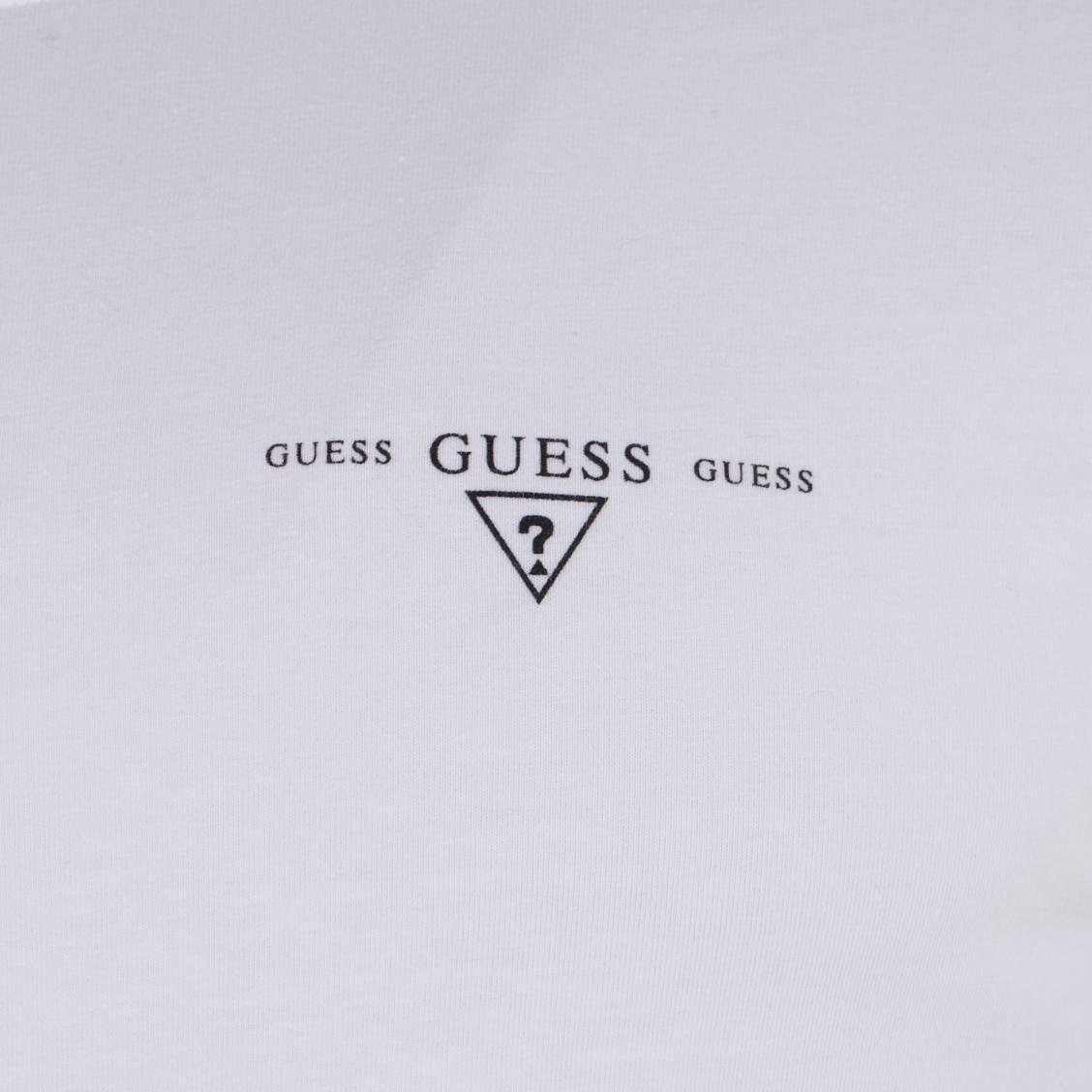 tee-shirt manches courtes col V Guess en coton blanc
