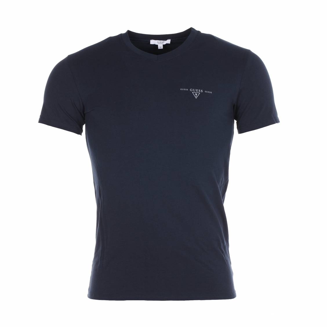 tee-shirt guess en coton stretch bleu marine