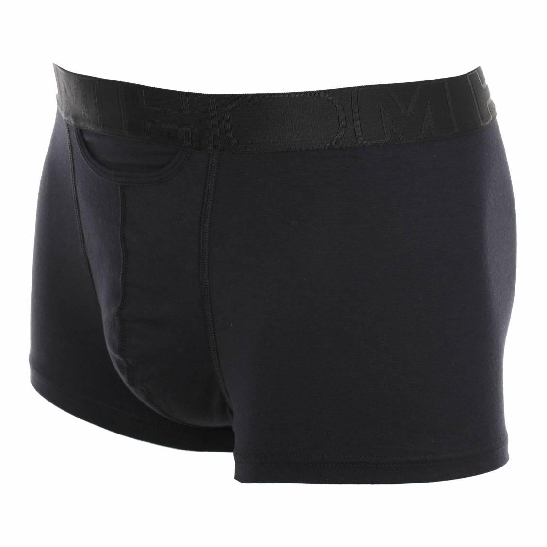 Boxer Hom coupe ouverte en coton stretch noir