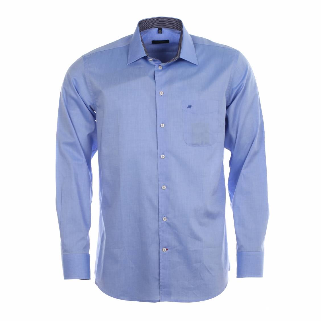 chemise homme droite jean chatel bleu ciel opposition rayures rue des hommes. Black Bedroom Furniture Sets. Home Design Ideas