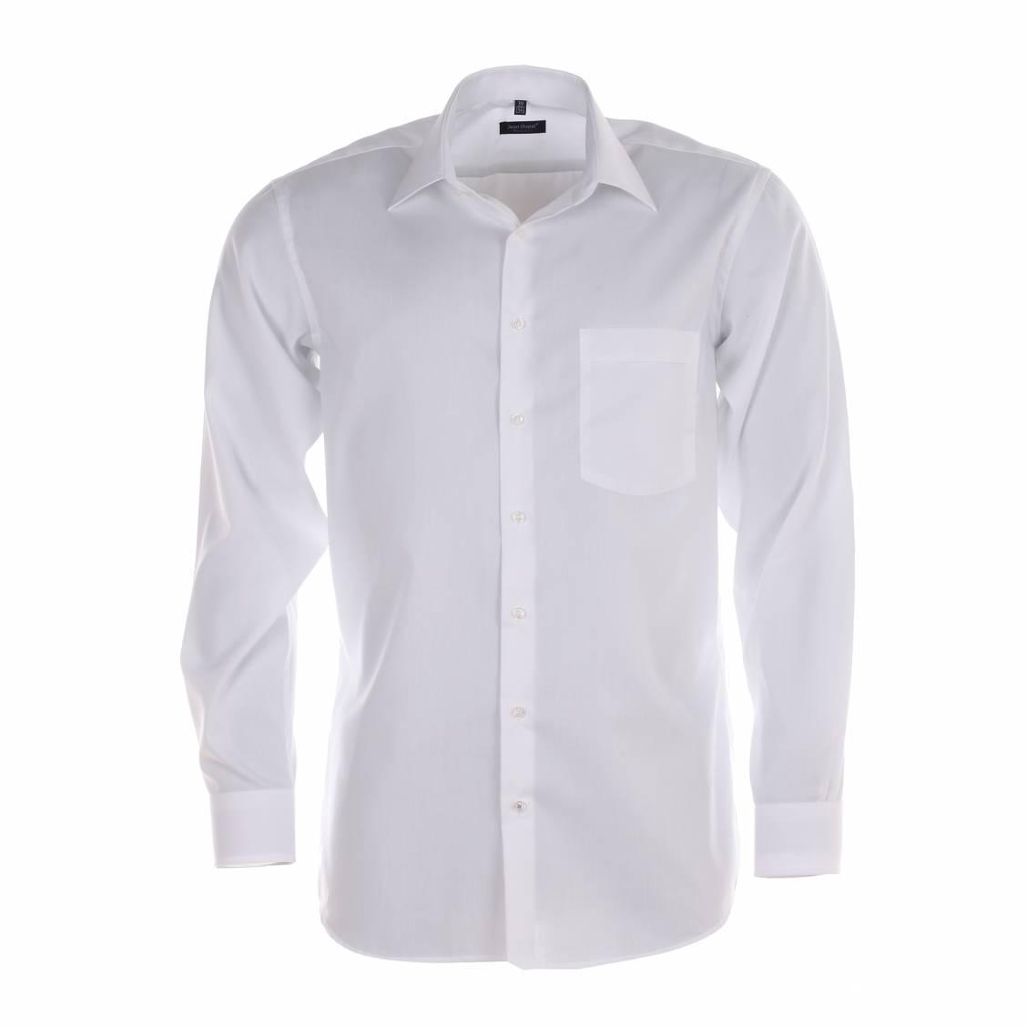 chemise homme sans repassage jean chatel paris chambray blanche rue des hommes. Black Bedroom Furniture Sets. Home Design Ideas
