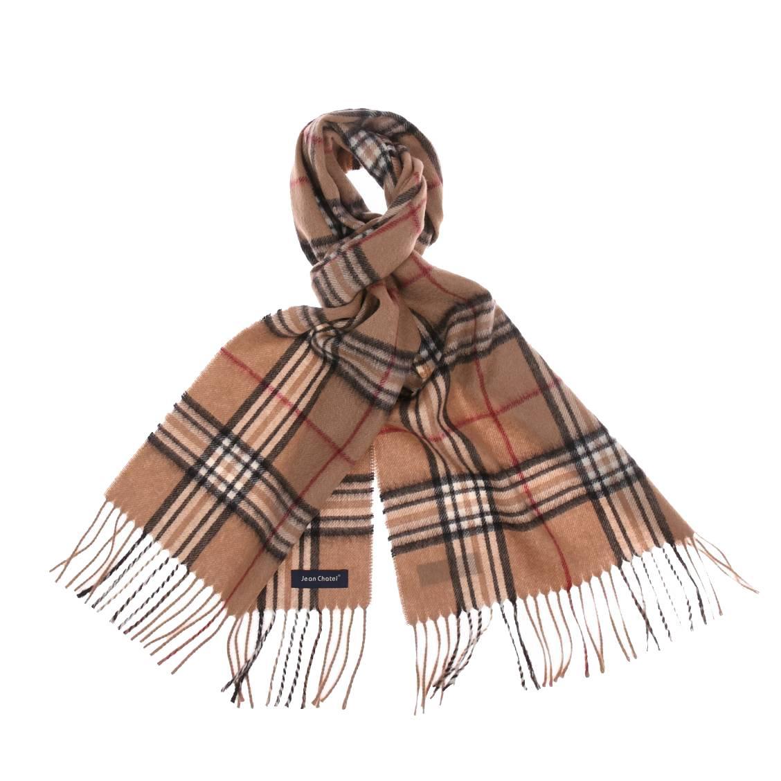 Echarpe jean chatel en laine beige à carreaux écossais noirs et rouges