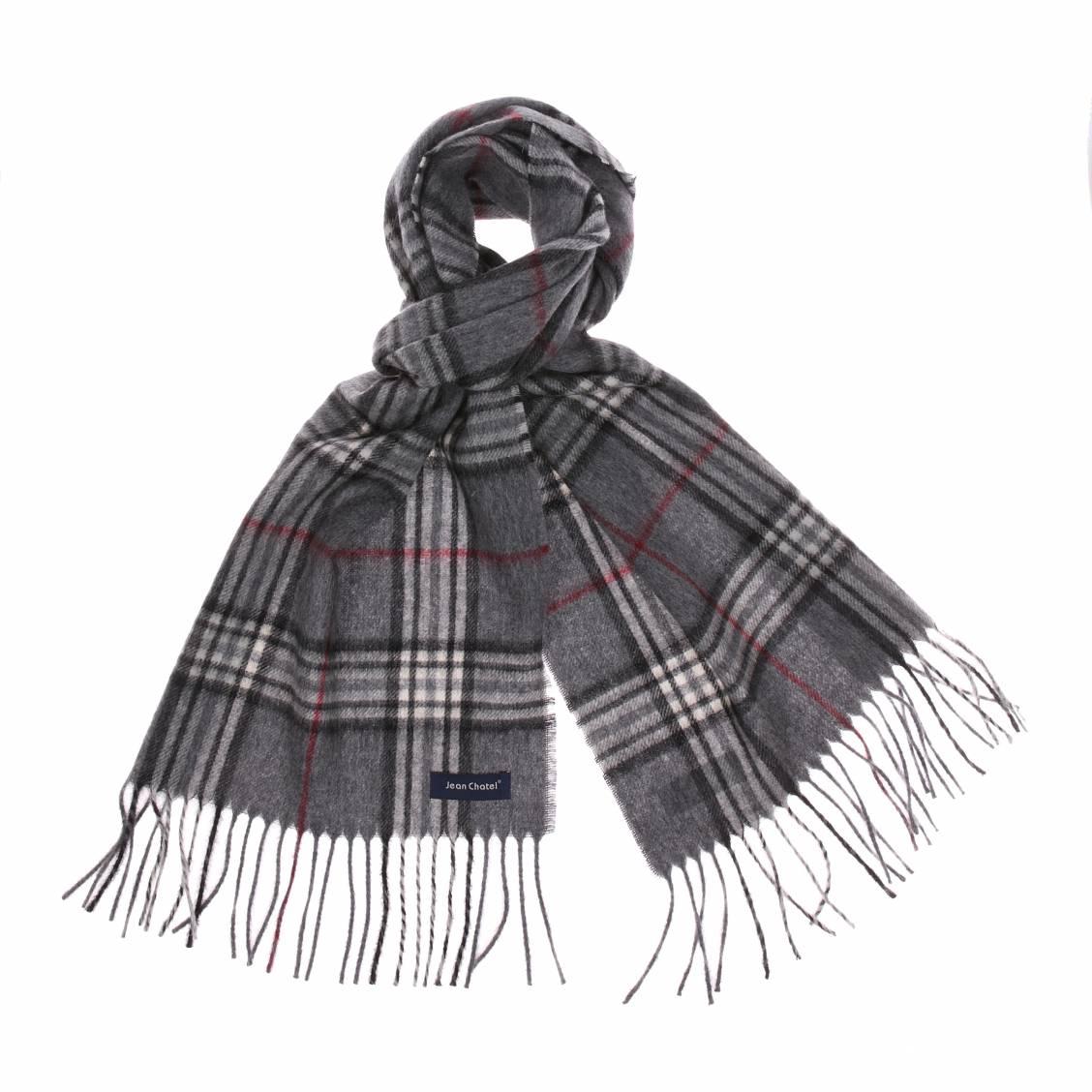 Echarpe  en laine grise à carreaux écossais noirs et rouges