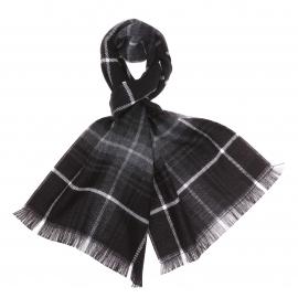 Écharpe noire à carreaux écossais gris et blancs