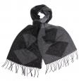 Écharpe en Laine à motifs losanges noirs et anthracite