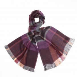 Écharpe à carreaux violets, prunes et gris
