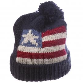 Bonnet à revers avec pompon Schott NYC, marine à motif drapeaux