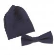 Coffret nœud papillon ajustable et pochette bleu marine