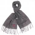 Echarpe en laine Vicomte A à motif jacquard noir, rose et blanc