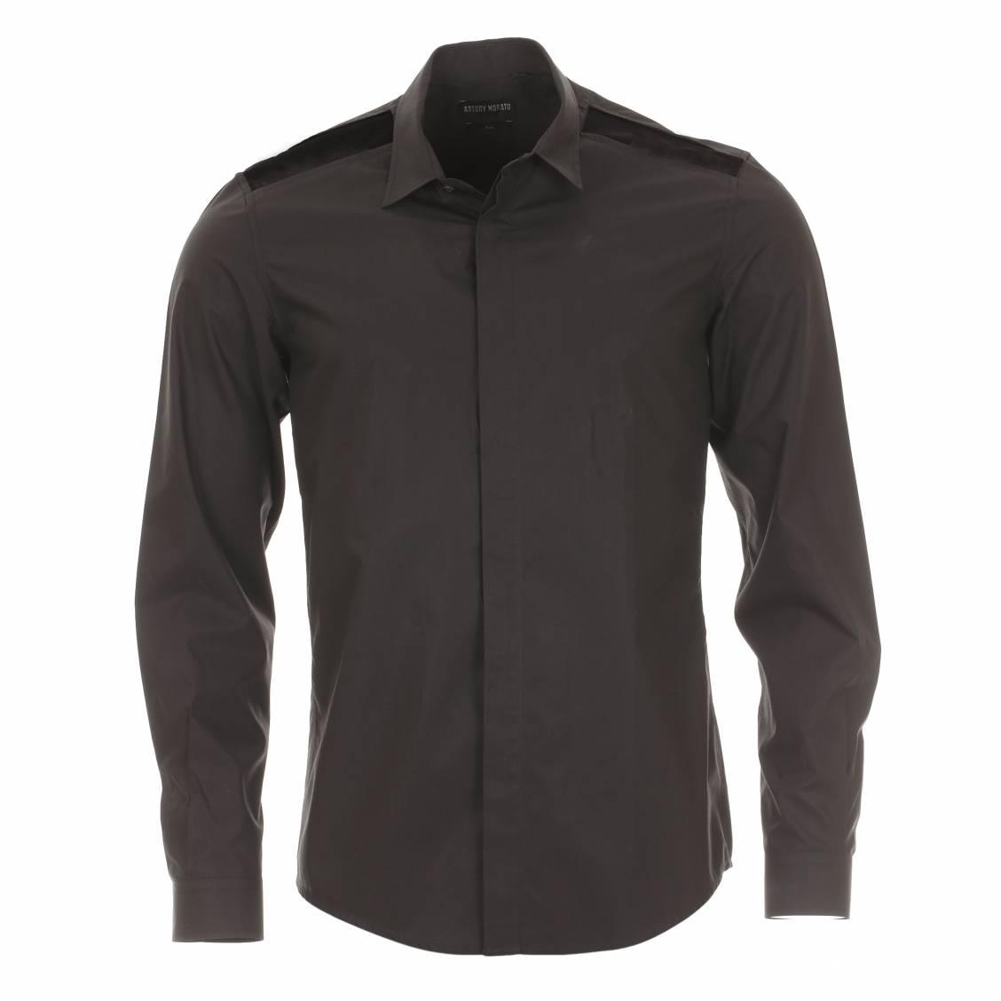 Chemise homme cintrée  noire avec résille aux épaules