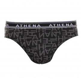 Lot de 3 slips Athena en coton : 1 Noir uni et 2 Noirs à motifs lettres