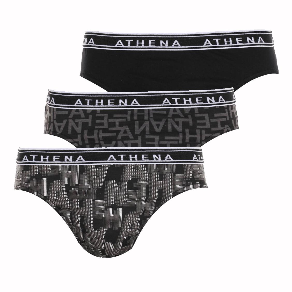 Lot de 3 slips Athena en coton noir uni et noirs à motifs lettres