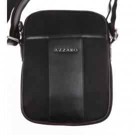 Sacoche Azzaro noire, bande en cuir estampillée sur le devant