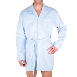 Pyjaveste Christian Cane en flanelle bleu ciel à tissage chevrons
