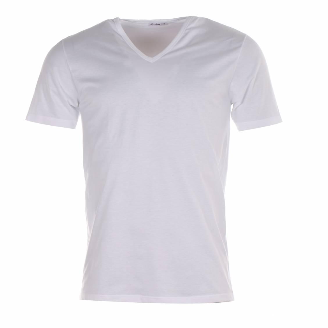 tee-shirt eminence blanc à col v