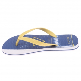 Tongs Guess bleues à passant jaune