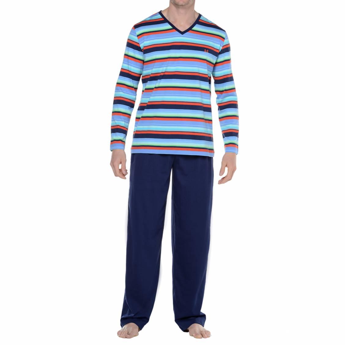 pyjama homme hom bleu marine rayé