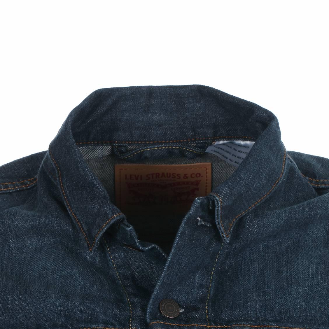 blouson homme levi's en jean bleu foncé