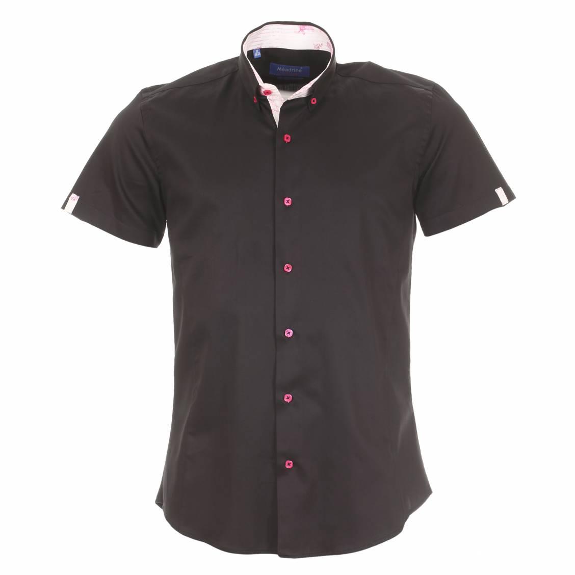chemise homme manches courtes m adrine noire opposition rose p le fleurie rue des hommes. Black Bedroom Furniture Sets. Home Design Ideas