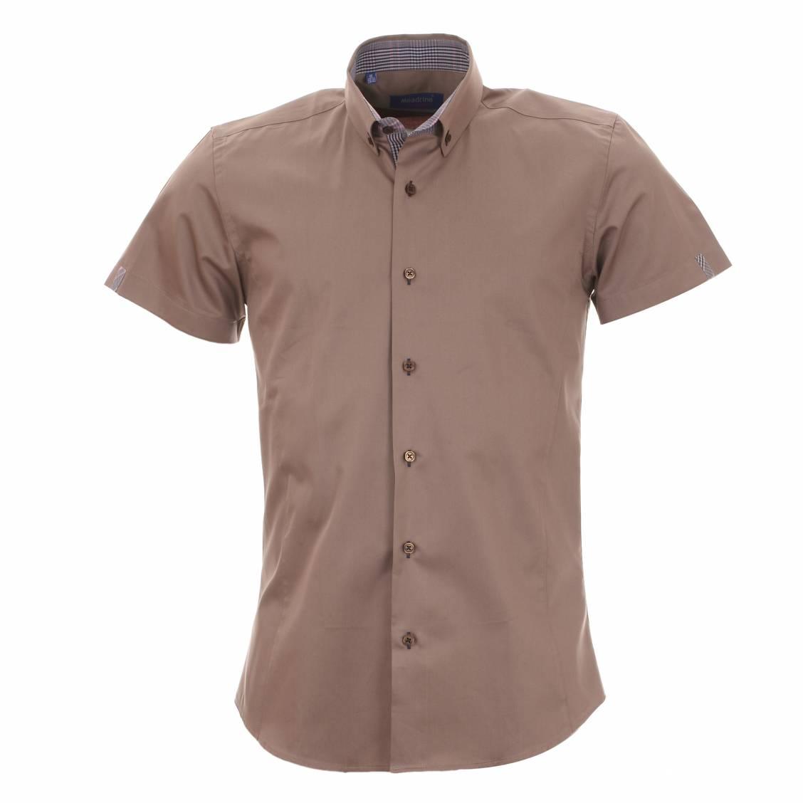 chemise homme manches courtes m adrine marron glac opposition carreaux rue des hommes. Black Bedroom Furniture Sets. Home Design Ideas