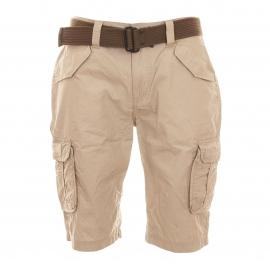 Bermuda cargo Schott NYC en coton beige avec ceinture