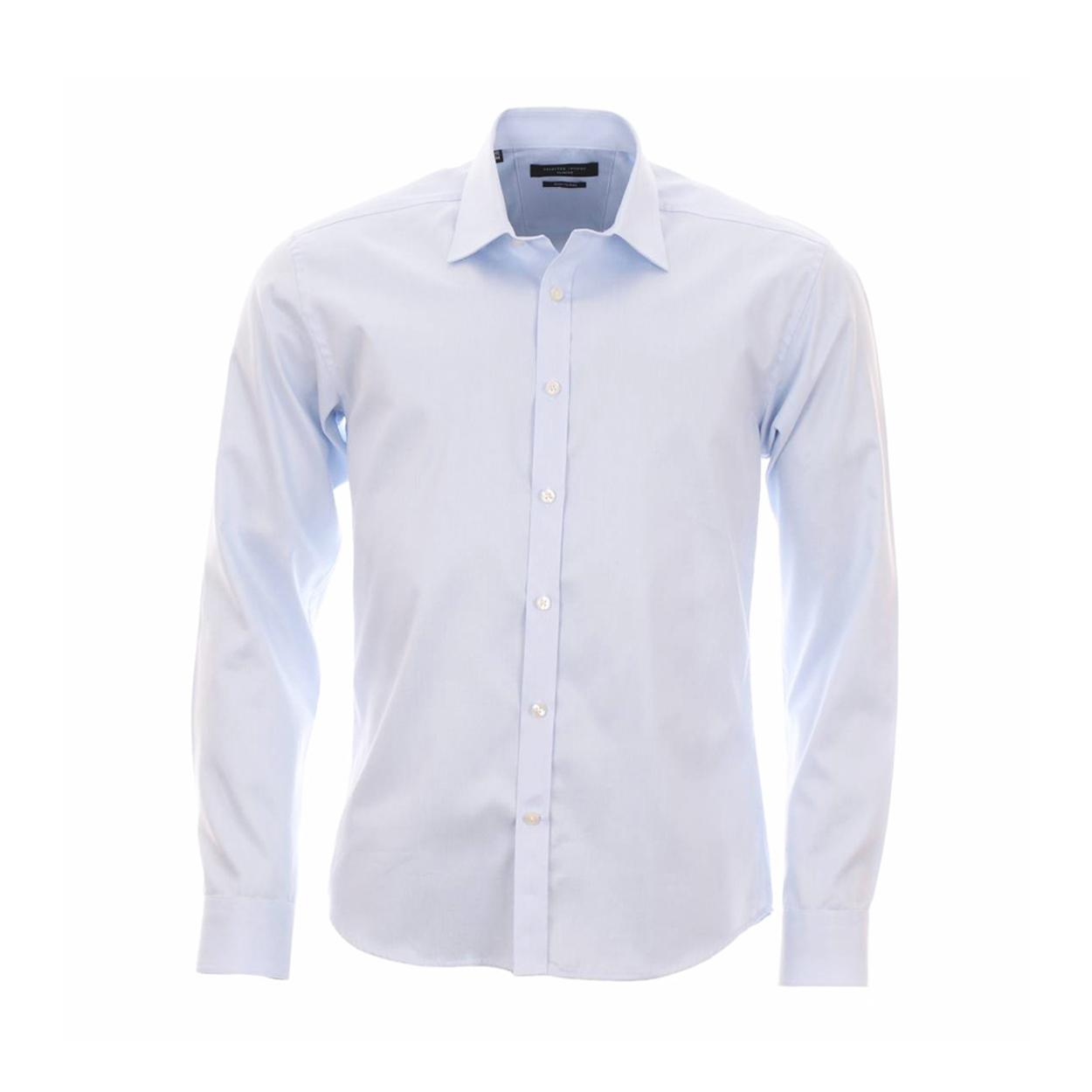 Chemise homme cintrée  fil-à-fil bleu ciel