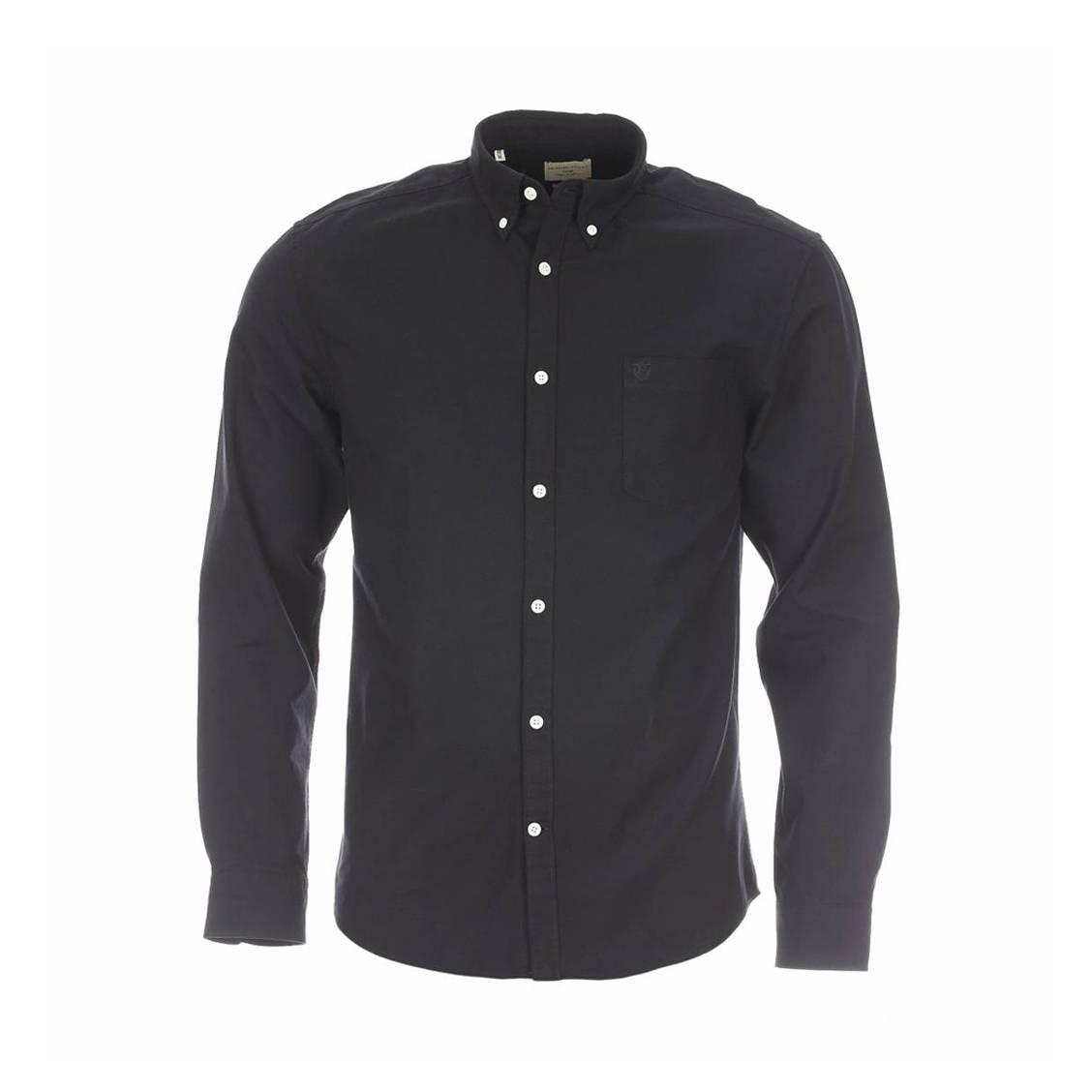 Chemise droite  héritage en gabardine de coton noire à poche