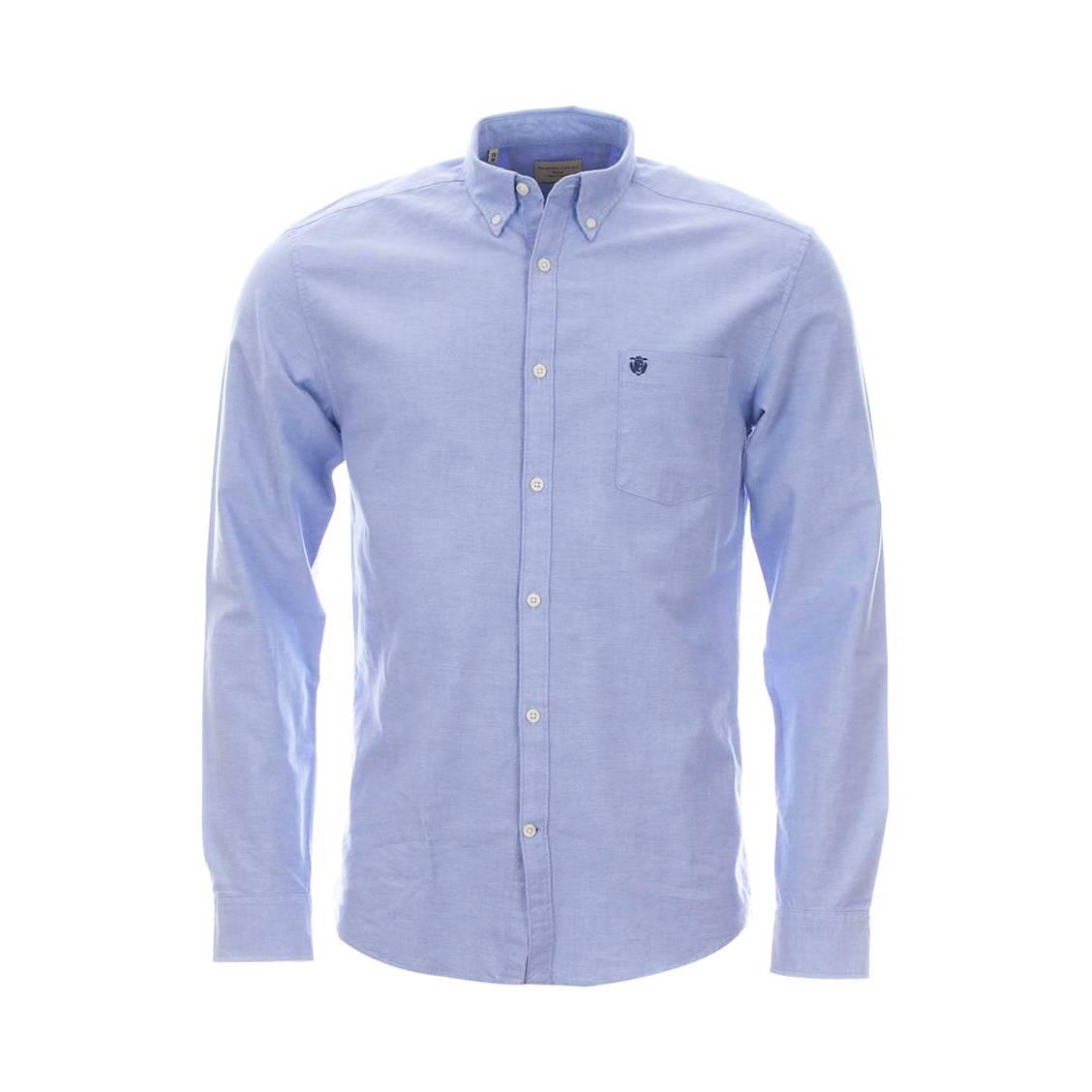 Chemise droite  héritage en gabardine de coton bleu ciel à poche