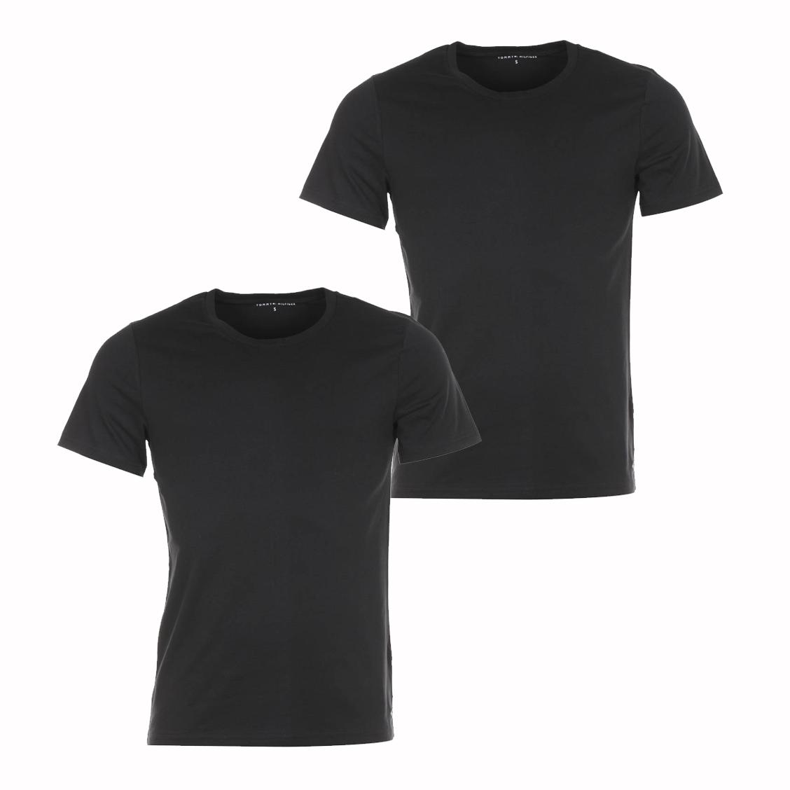 lot de 2 tee-shirts à col rond Tommy Hilfiger en coton noir