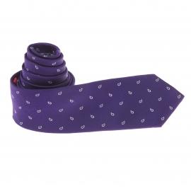 Cravate Vicomte A. en soie violette à motifs cachemire gris clair