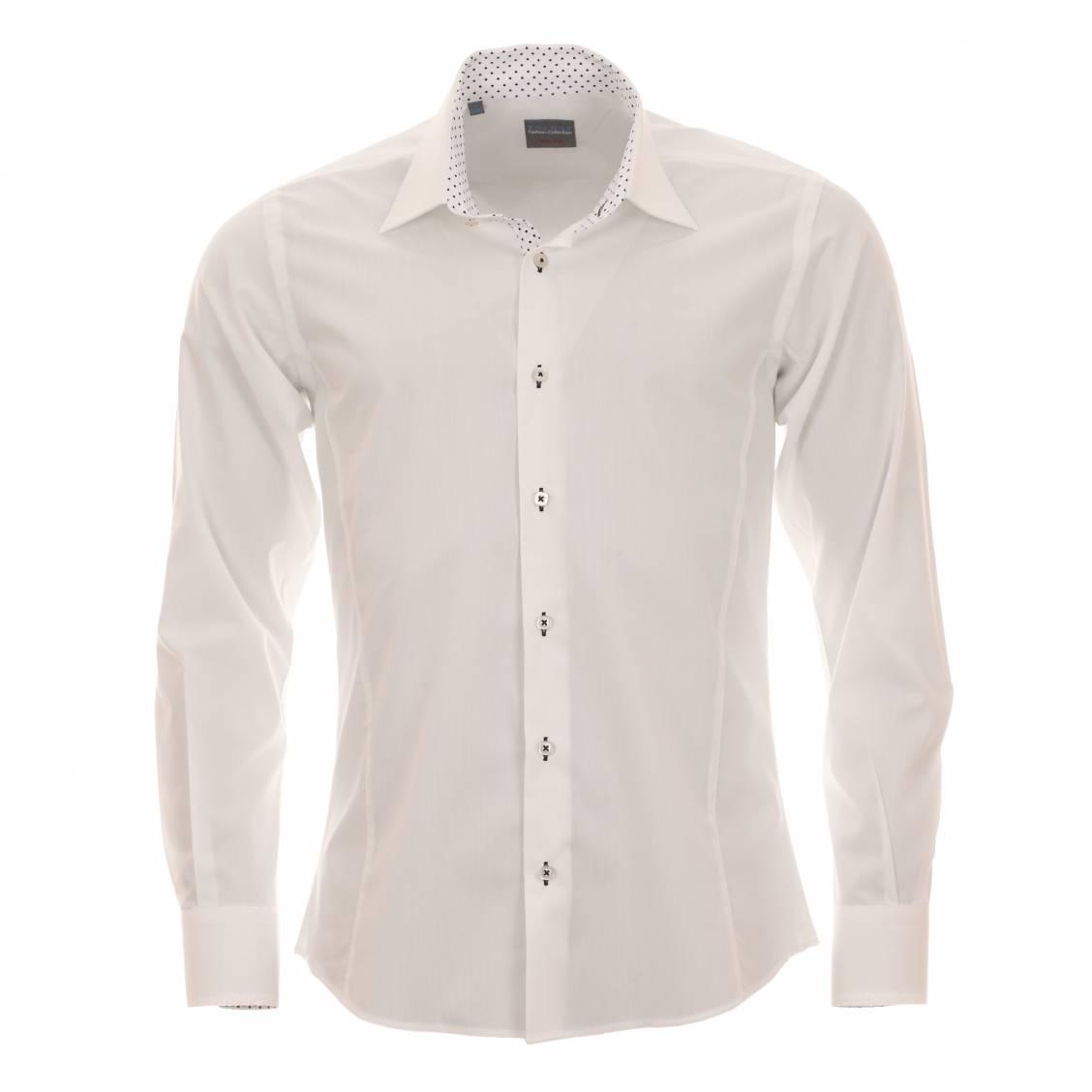 chemise cintrée en coton ivoire à opposition
