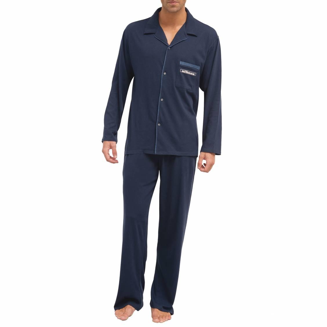 Pyjama long  : veste boutonnée et pantalon en jersey de coton bleu marine