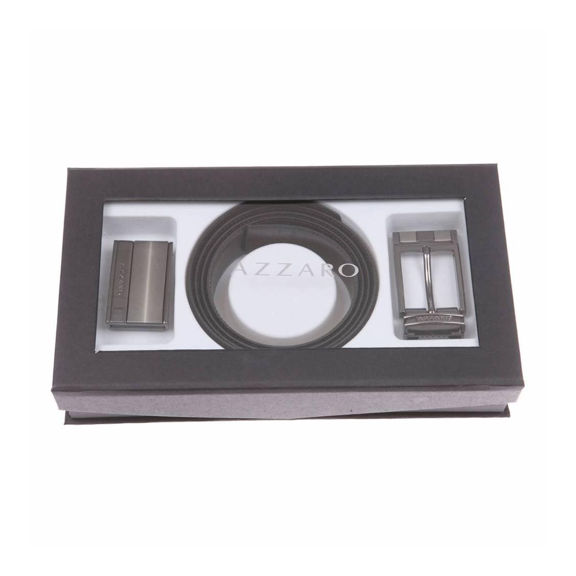 5570ca4bfc81 Coffret cadeau   ceinture Azzaro ajustable, noir réversible marron ...