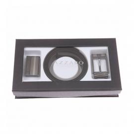 Coffret cadeau : ceinture Azzaro ajustable, noir réversible marron, à boucle pleine et classique
