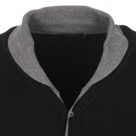 Cardigan Best Mountain noir à col châle doublé gris